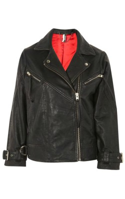 TopShop Oversized Leather Biker Jacket - with red lining