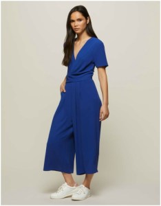 Miss Selfridge Blue Twist Front Culotte Jumpsuit