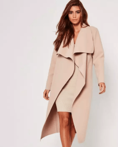 Missguided oversized waterfall duster coat nude - $67
