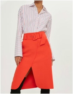 Topshop Belted Curse Wrap Midi Skirt