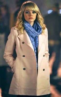 Emma Stone wearing a trench coat with a blue scarf - shop the look