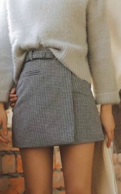 Grey cashmere jumper/ sweater with check straight skirt in grey - shop the look
