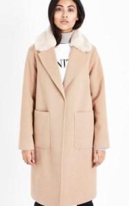 New Look Petite Camel Faux Fur Collar Longline Coat - £44.99 in camel