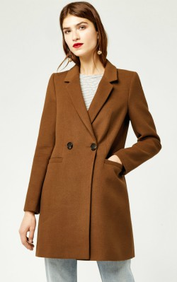 Warehouse CLEAN CROMBIE - £86 in camel