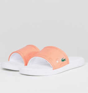 ASOS Lacoste L.30 Sliders In Peach