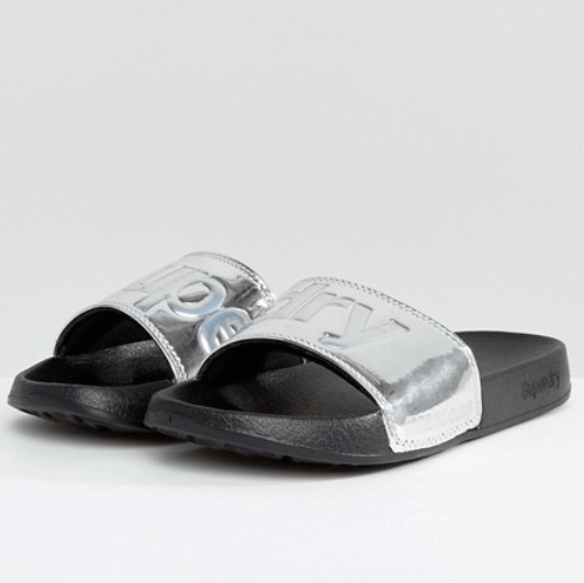ASOS Superdry Chrome Pool Slide Flat Sandals