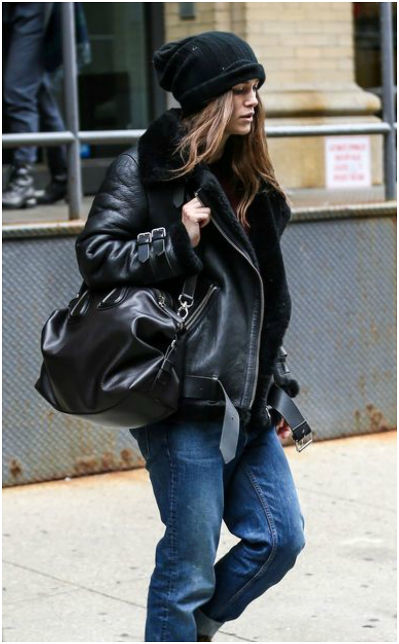 Keira Knightley black aviator biker jacket