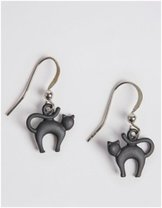Marks and Spencer Black Cat Drop Earrings