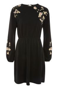 Topshop PETITE Embroidered Balloon Sleeve Mini Dress
