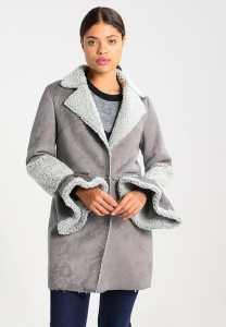 Zalando Lost Ink SHEARLING - Short coat - grey