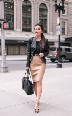 Woman in light beige pencil skirt and blazer - 50 best pencil skirts