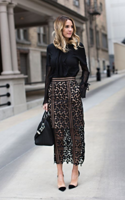 Model in lace black pencil skirt and jumper