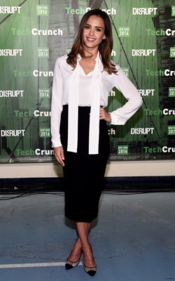 Jessica Alba in black pencil skirt and white shirt with tie detail