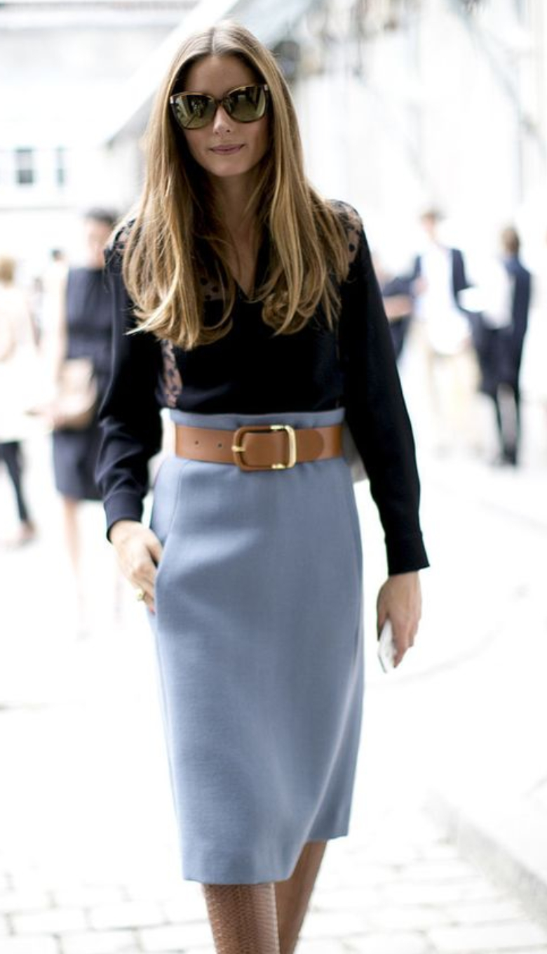 Olivia Palmero in light blue pencil skirt and navy shirt