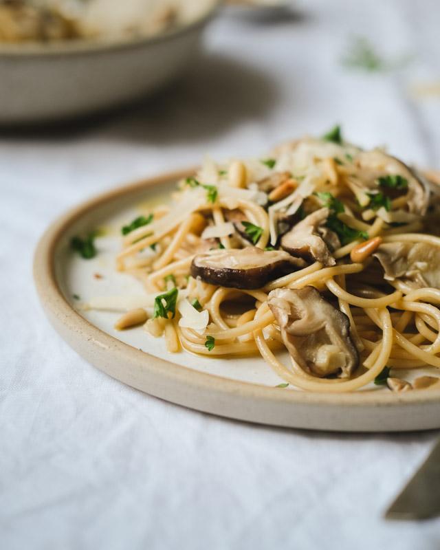 mushroom pasta closeup