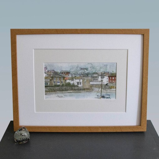 mixed media art print of mousehole, cornwall.view of the architecture waterfront and boat