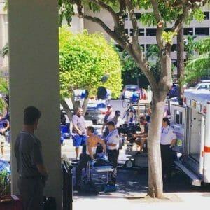Alex O'loughlin bandaged on set of Hawaii Five O