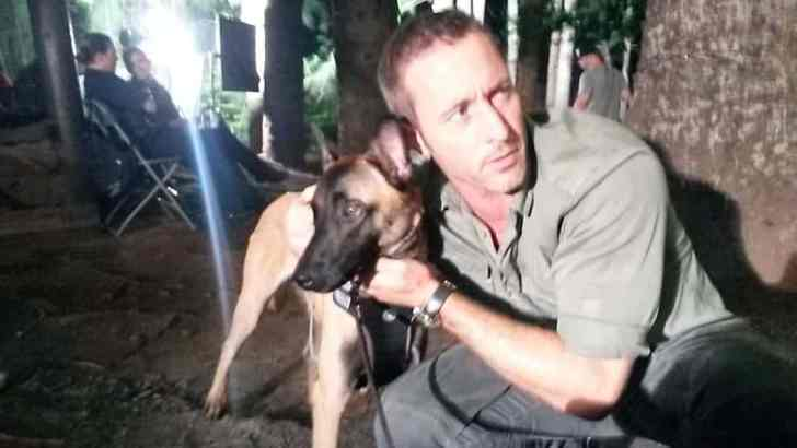 Alex O'Loughlin and dog