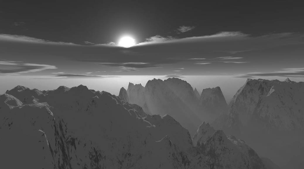 White mountains with clouds and moon, black and white