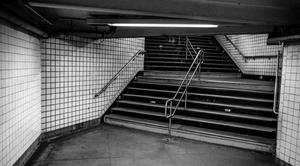 Subway stairs, black and white