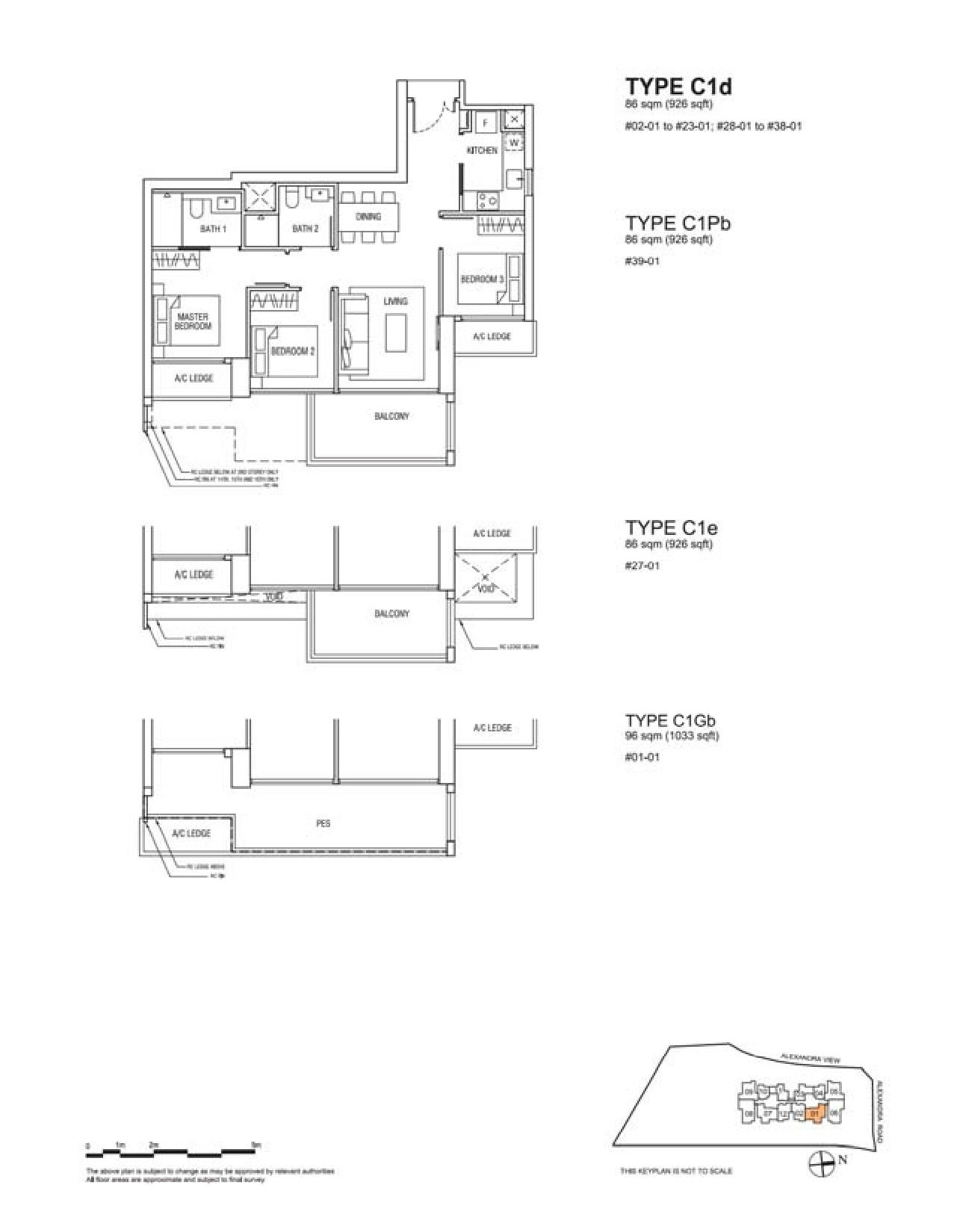Alex Residences 3 Bedroom Floor Plans Type C1d, C1Pb, C1e, C1Gb
