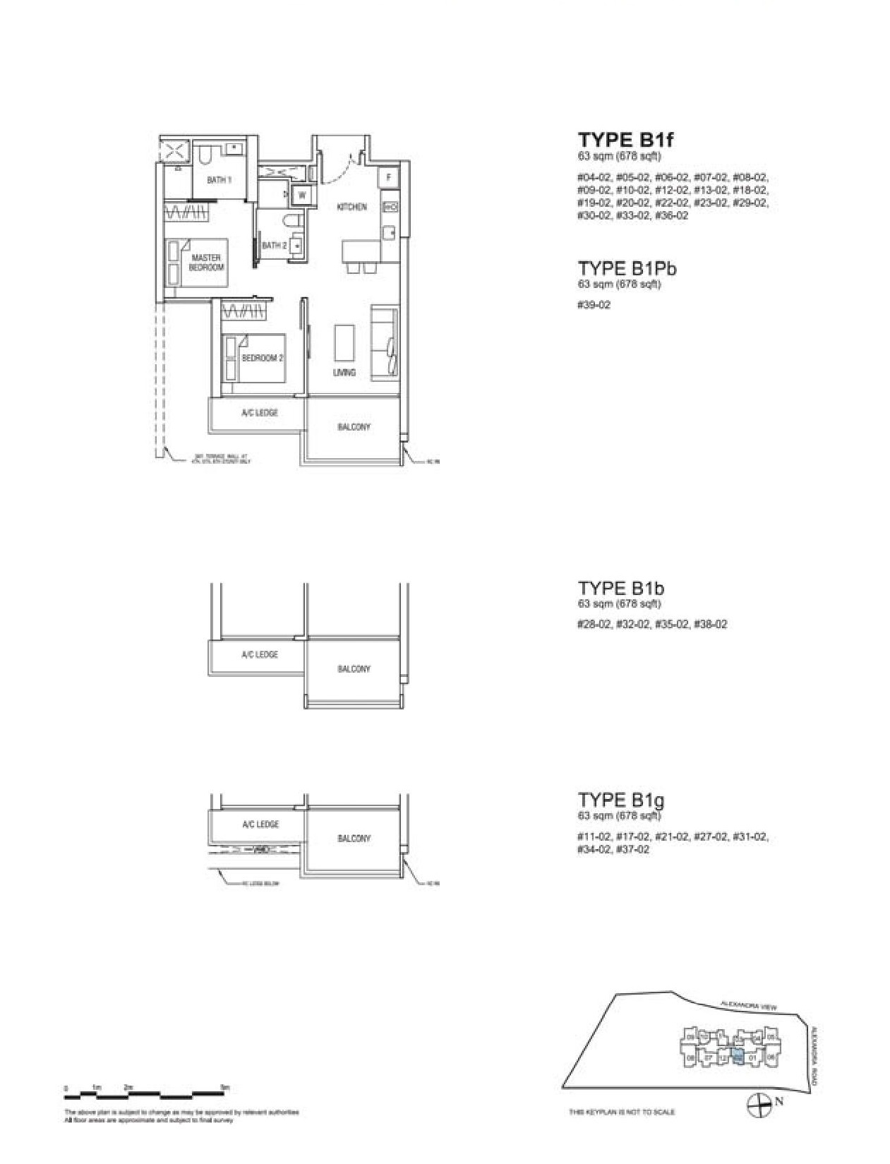 Alex Residences 2 Bedroom Type B1f, B1Pb, B1b, B1g Floor Plans