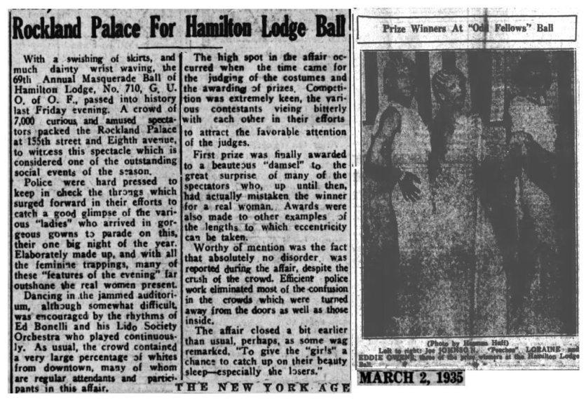 """Recorte de """"The New York Age"""" del 2 de Marzo de 1935 donde se cuenta como la policía disolvió la drag ball tras """"algunos disturbios"""""""