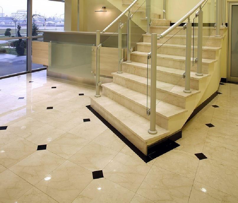 Crema Marfil Marble And Black Galaxy Granite Flooring And Stairs | Black Granite Staircase Designs | Marble | Polished Granite | Floor Stair Circular | Kota Stone Staircase | Jet Black