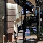 scale in ferro a chiocciola con scorrimano in Alcantara-elica glass-alfascale