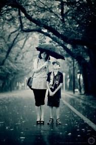 Saori and Joe in the rain