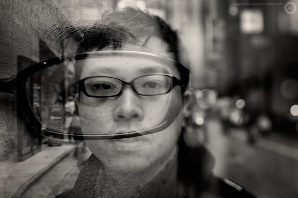 Double-exposure portrait