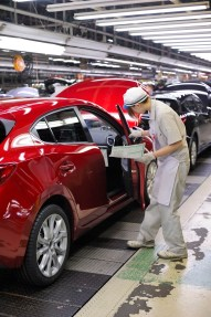 New Mazda 3 on the production line at Hofu