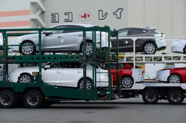 New Mazda 3 cars on their way to a test in Russia