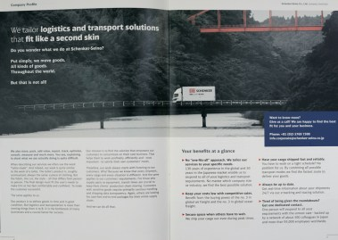 Truck photography for corporate brochure of DB Schenker Seino [including generation of black & white / red concept