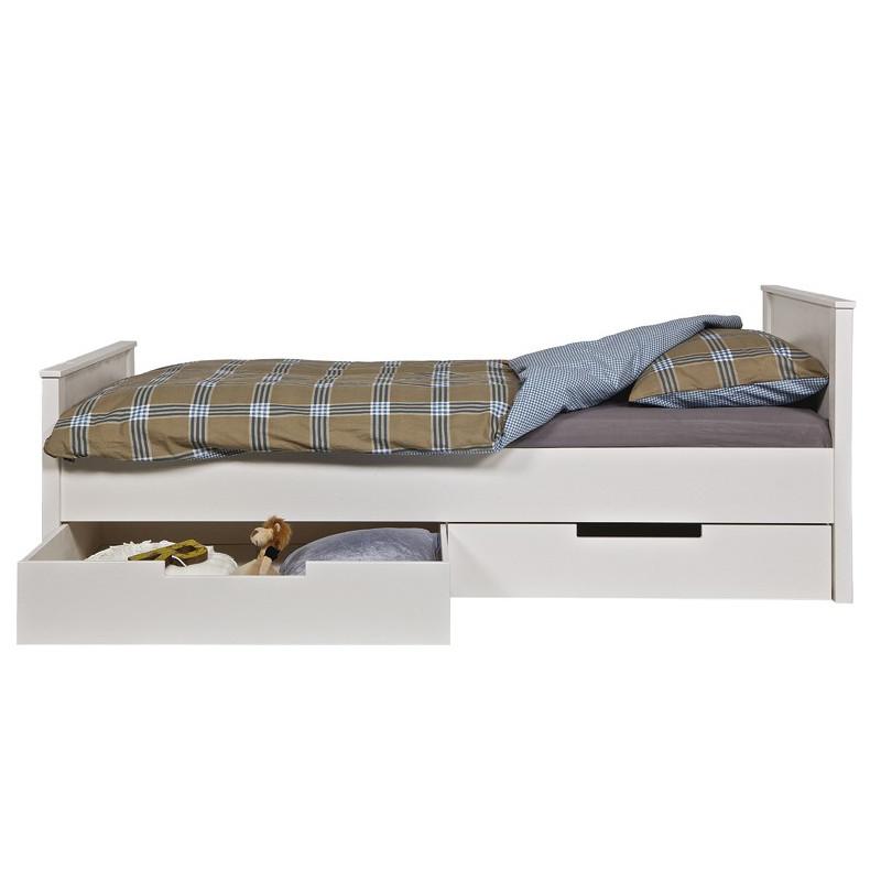 lit bois massif 90x200 blanc kaja