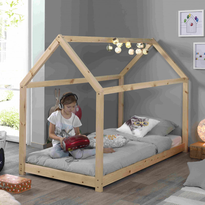lit cabane avec sommier 90x200 naturel alva
