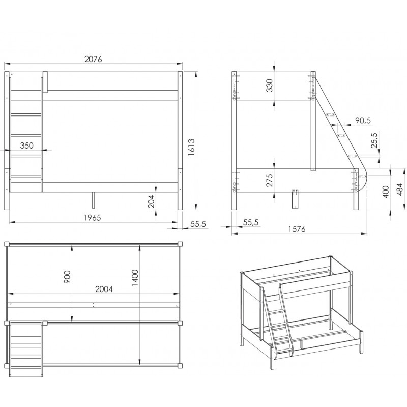 pack bunk bed 2 mattresses 140 90x200 leopold white