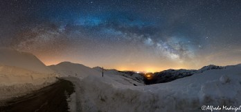 Snow and milky way