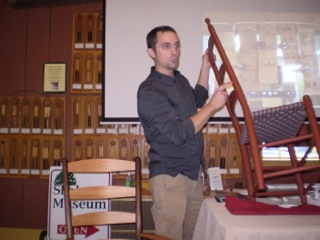 Adam Nudd-Homeyer speaking at our final Speakers' Forum session for 2016. His subject was the making of Shaker chairs.