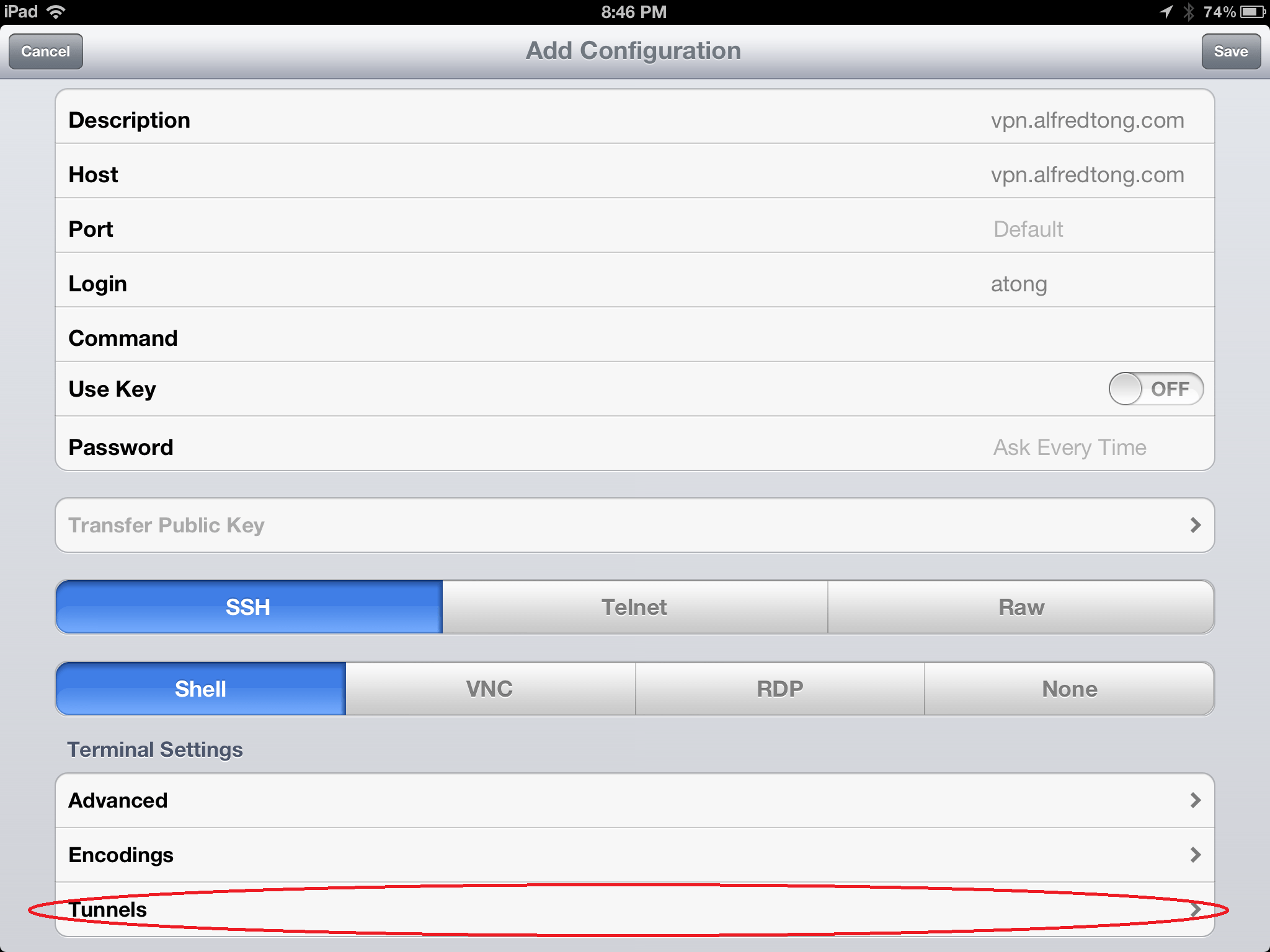 How to create a SSH tunnel using iPad/iPhone? - Alfred Tong