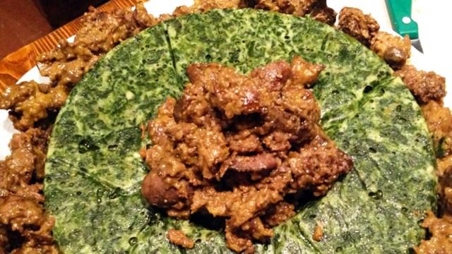 Cibreo con lo sformato di spinaci