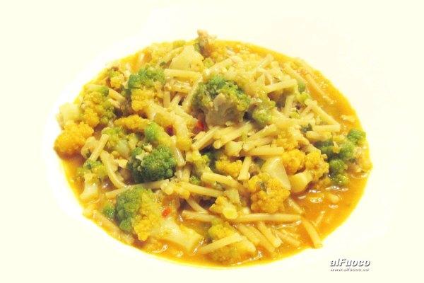 Zuppa di pesce e broccolo romano