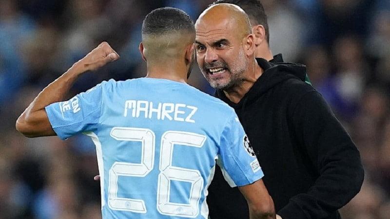 Riyad Mahrez et Pep Guardiola