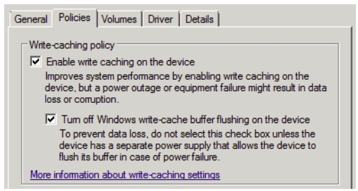 Modifying disk flushing settings in device manager