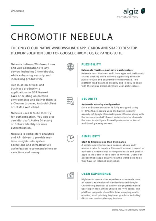 Chromotif Nebeula data sheet