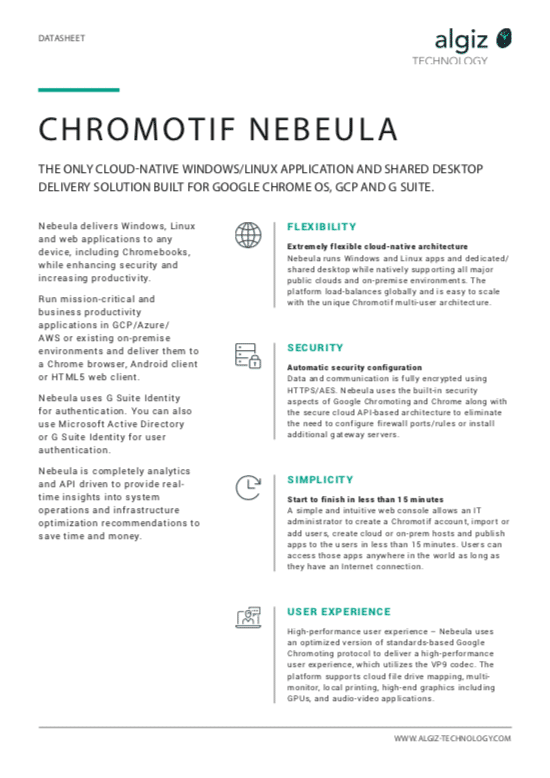 Chromotif Nebeula data sheet