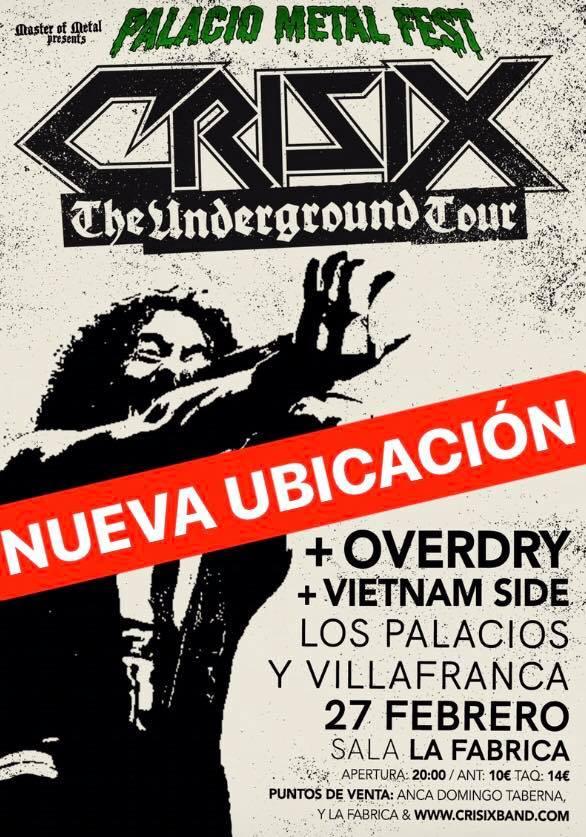 CRISIX cambia de ubicación su concierto de Jerez el 27 de febrero
