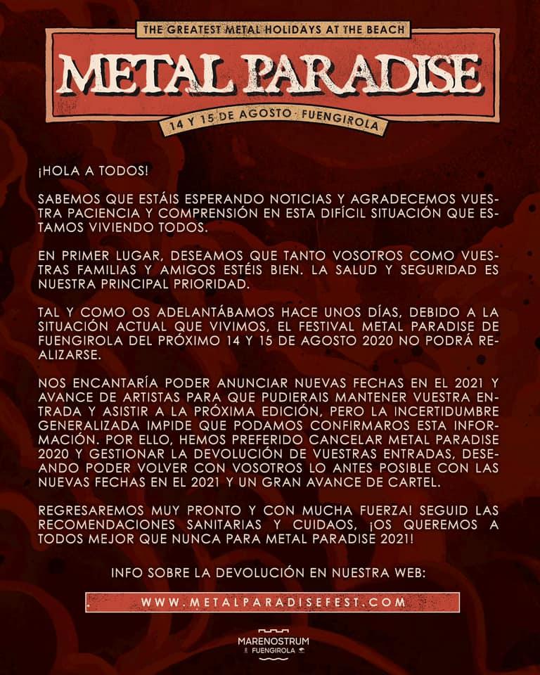 COMUNICADO METAL PARADISE FESTIVAL 2020