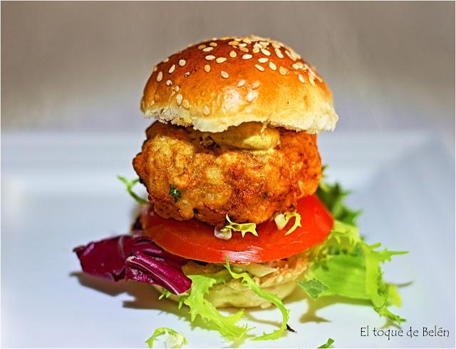 Mini hamburguesa de bacalao