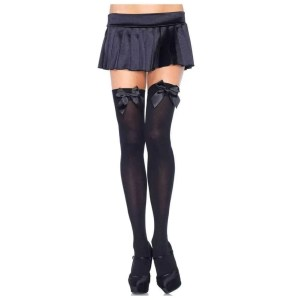 Kay Opaque Thigh Highs with Satin Bow by Leg Avenue